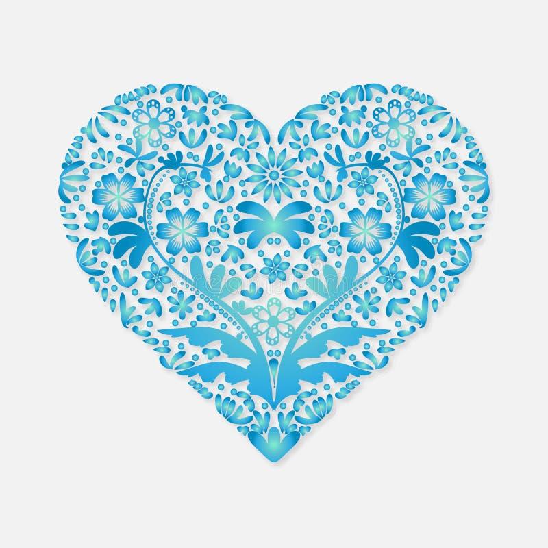 Kort för valentindaghälsning för blå hjärta för lyckönskan på en ljus bakgrund vektor illustrationer