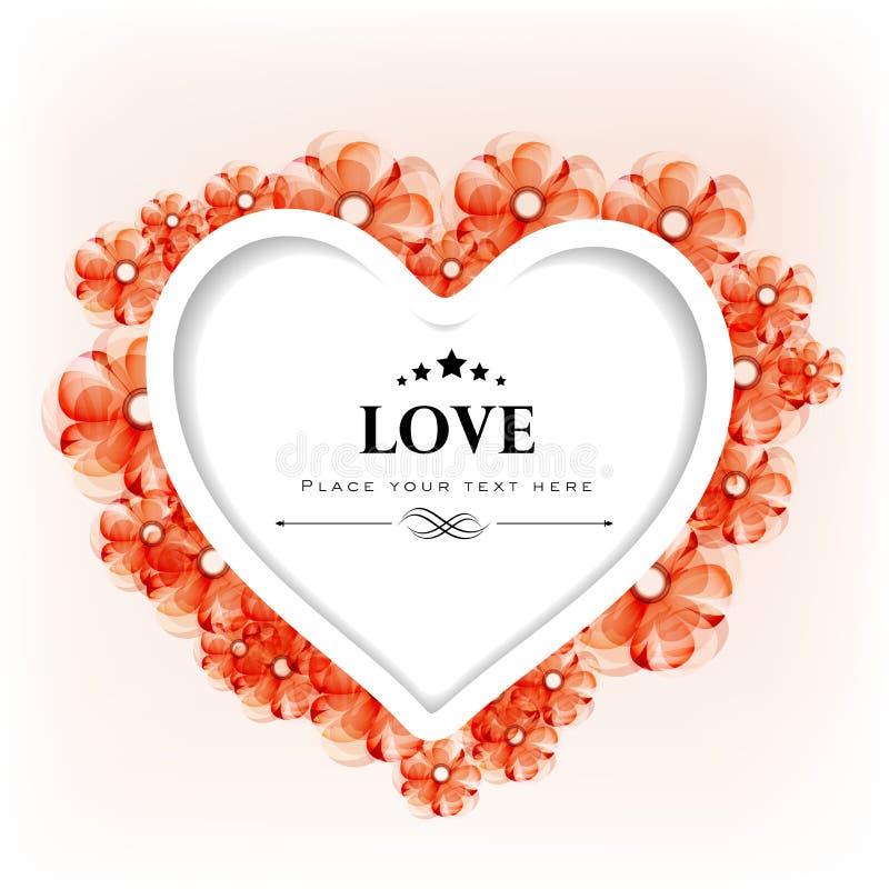 Kort För Valentindaghälsning Eller Gåvakort Med Blom- Dekorativt Arkivfoto