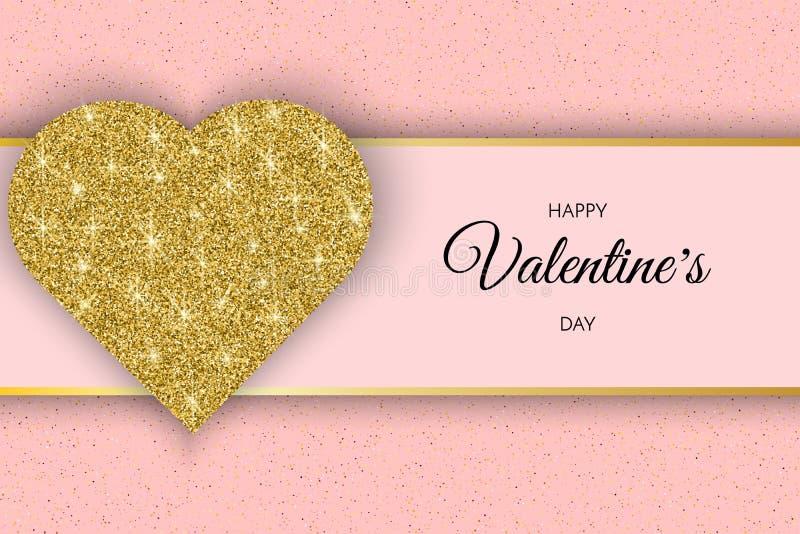 Kort för valentindaghälsning Festligt kort för lycklig dag för valentin s Rosa bakgrund med guld- hjärta och att blänka vektor illustrationer