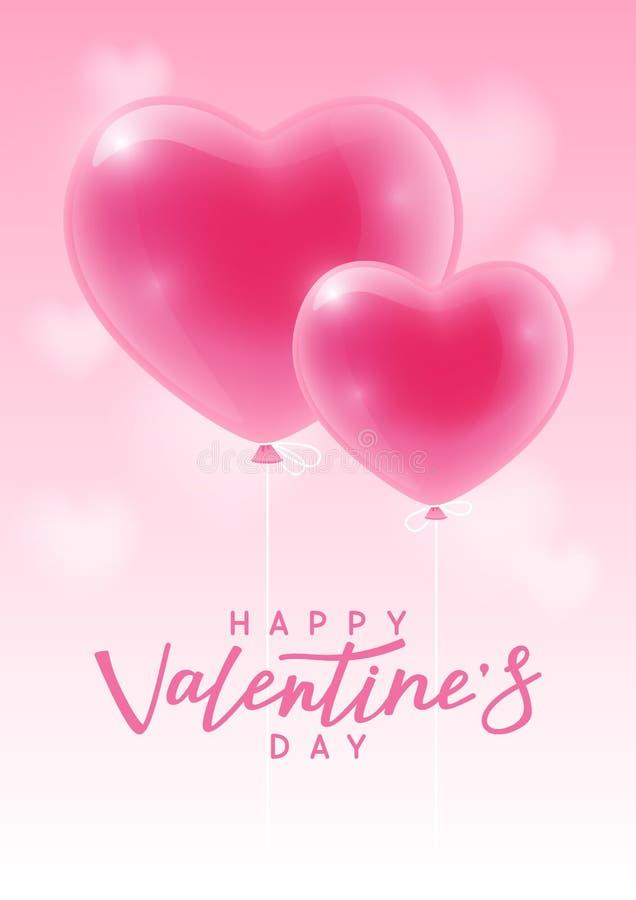 Kort för valentindaghälsning med hjärtaballonger stock illustrationer