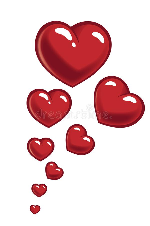 Kort för valentindaghälsning med röda ballonger för hjärta vektor illustrationer