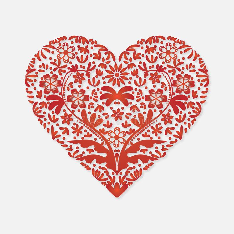 Kort för valentindaghälsning för röd hjärta för lyckönskan på en ljus bakgrund royaltyfri illustrationer