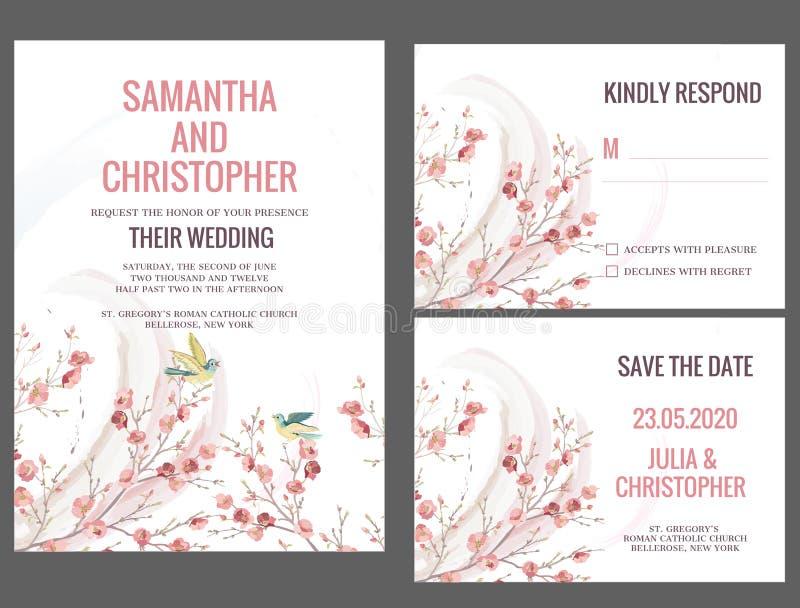 Kort för vattenfärgbröllopinbjudan stock illustrationer