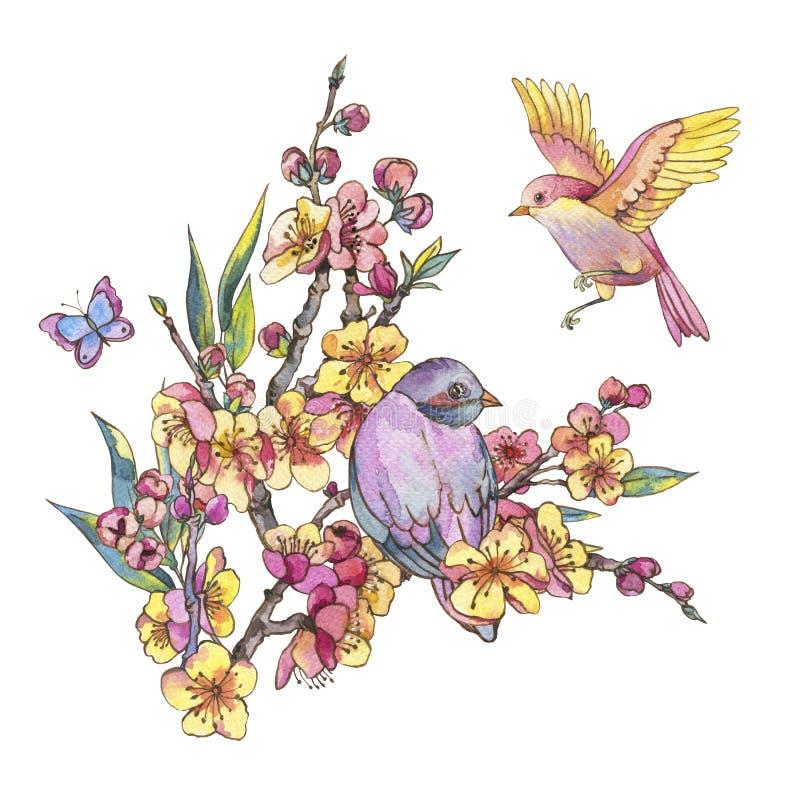 Kort för vattenfärgvårhälsning, blom- bukett för tappning med bir royaltyfri illustrationer