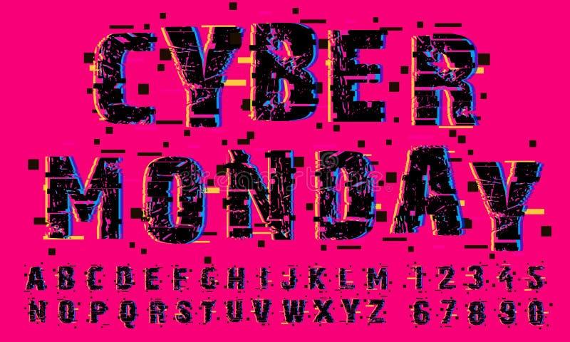 Kort för vektor för Cybermåndag Sale abstrakt begrepp, Flayer eller affischmall Modern typografi, PIXEL och tekniskt feleffekt el vektor illustrationer