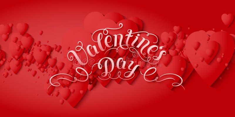 Kort för vektor för dag för valentin` S Eleganta volymetriska röda hjärtor med mjuka skuggor över röd bakgrund chain hjärtor royaltyfri illustrationer