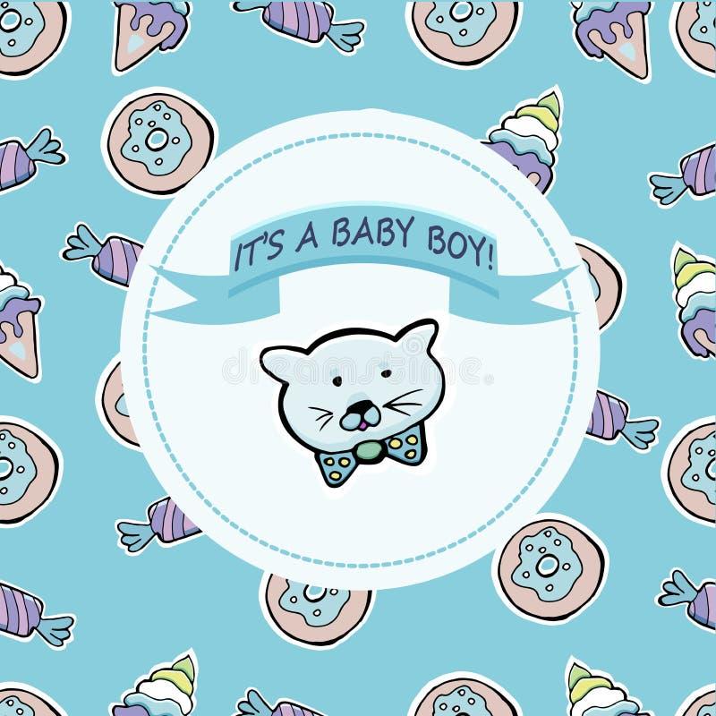 Kort för vektorbaby showerhälsning Smsa det ` s en behandla som ett barnpojke Litet K stock illustrationer