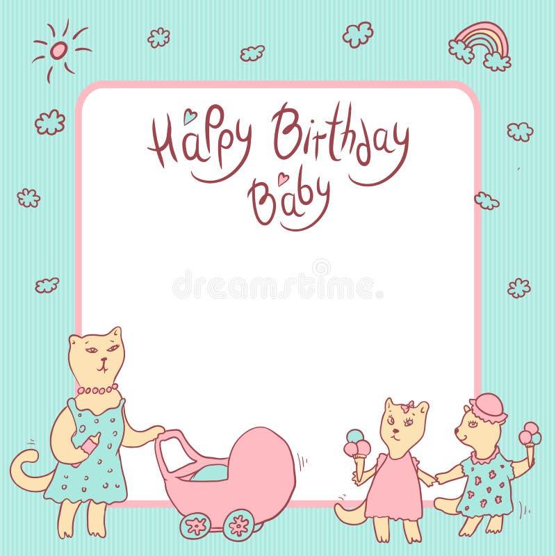 Kort för vektorbarnhälsning i pastellfärgade färger behandla som ett barn den lyckliga födelsedagen Kattmamma med en barnvagn, fl vektor illustrationer