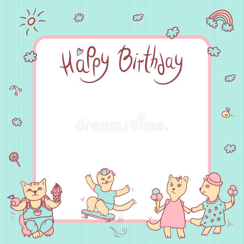 Kort för vektorbarnhälsning i pastellfärgade färger lycklig födelsedag Flicka med glass, kattungepojken med frukt och sött stock illustrationer