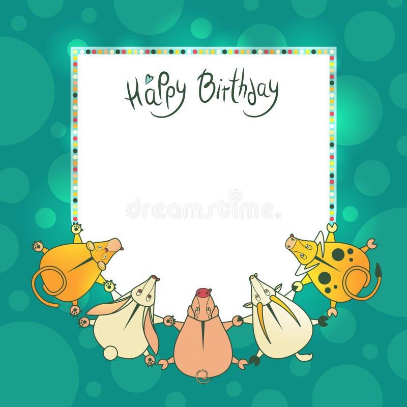 Kort för vektorhälsningbarn med önska för en lycklig födelsedag royaltyfri illustrationer