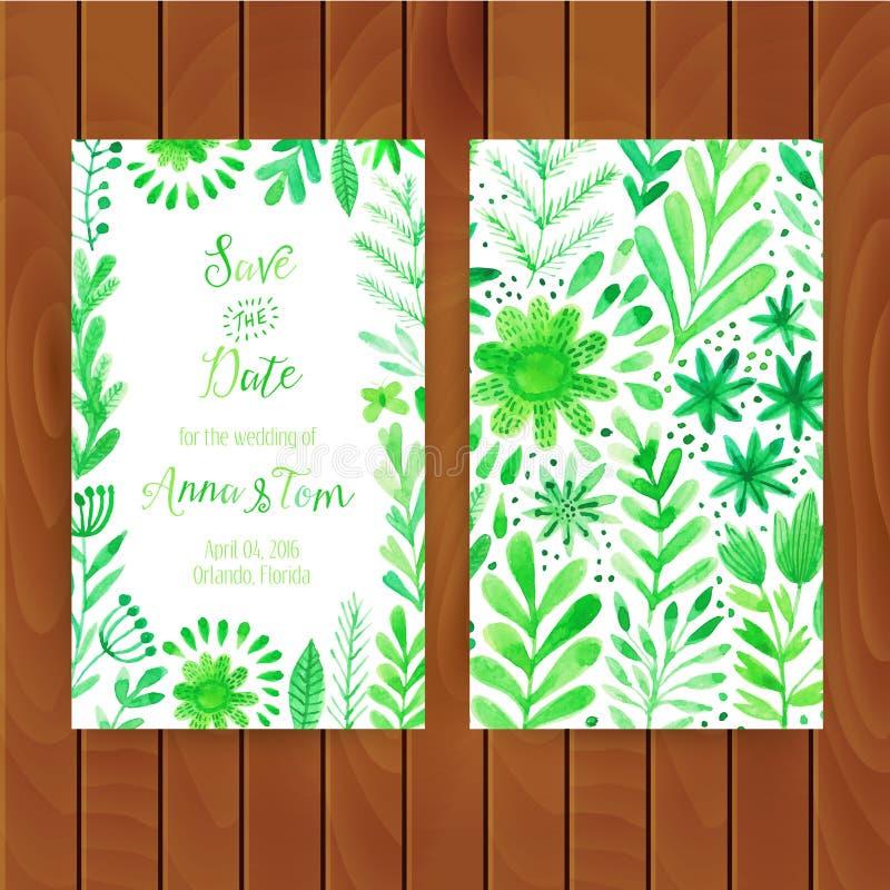 Kort för vektorvattenfärginbjudan med blommor och växter illustration för design för bakgrundbakgrundskort blom- Original- blom-  stock illustrationer