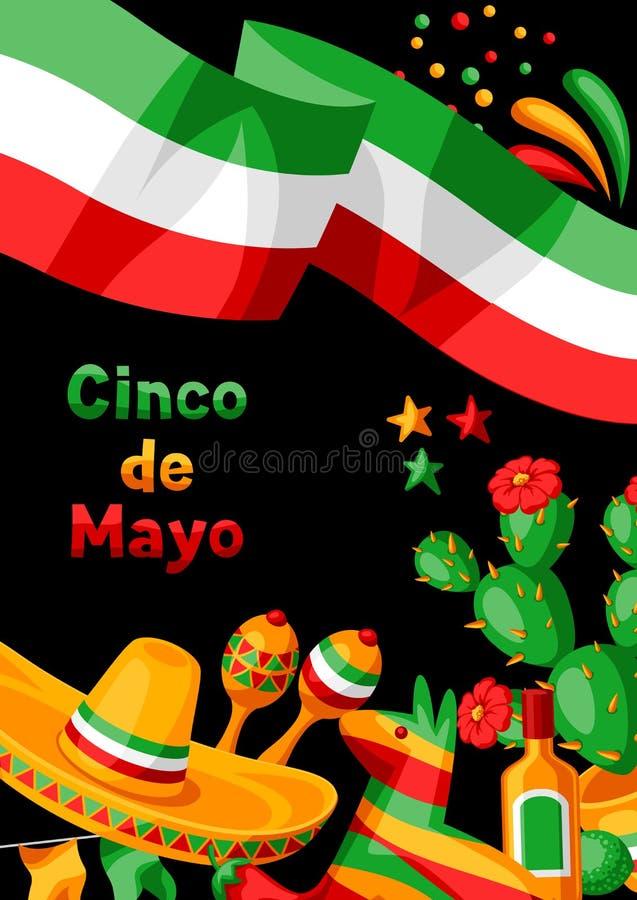 Kort f?r mexikanCinco de Mayo h?lsning vektor illustrationer