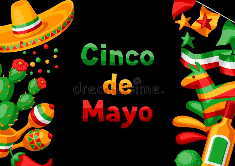 Kort f?r mexikanCinco de Mayo h?lsning stock illustrationer