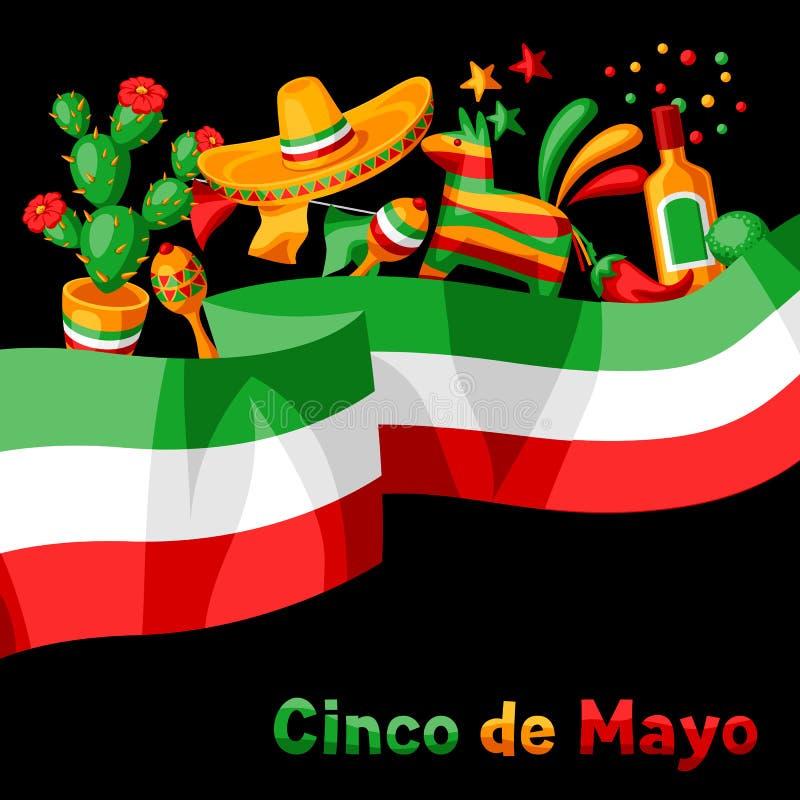 Kort f?r mexikanCinco de Mayo h?lsning royaltyfri illustrationer