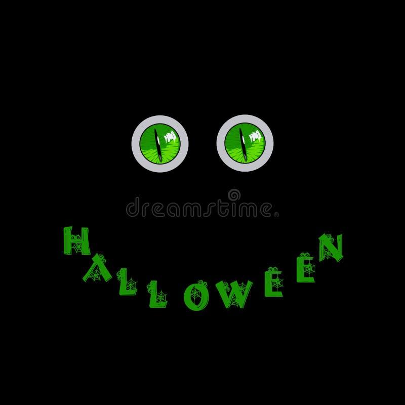 kort halloween Gröna rov- monsterögon och ord halloween vektor illustrationer