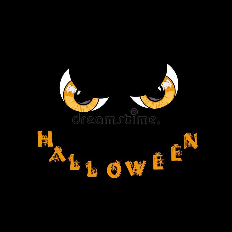 kort halloween Gula rov- monsterögon och ord halloween stock illustrationer