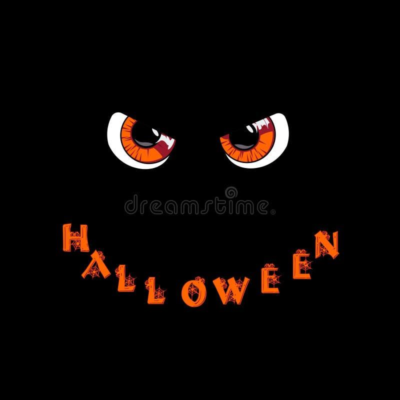 kort halloween Orange rov- monsterögon och ord halloween stock illustrationer