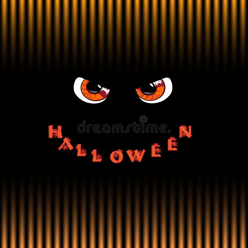 kort halloween Orange rov- monsterögon och ord halloween vektor illustrationer