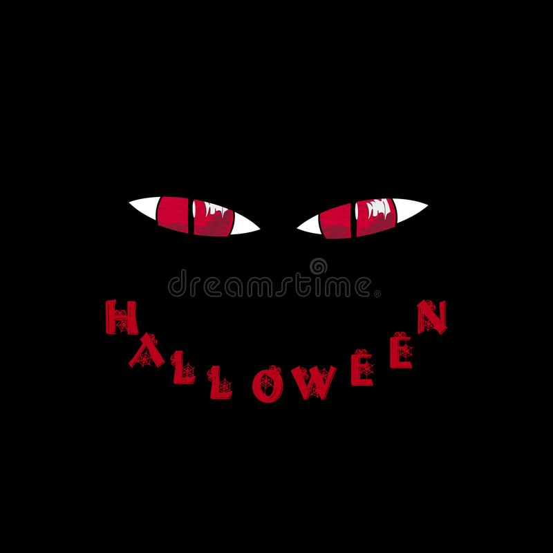 kort halloween Röda rov- monsterögon och ord halloween vektor illustrationer
