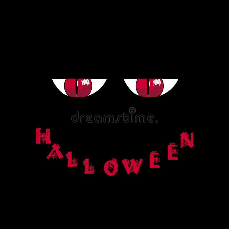 kort halloween Röda rov- monsterögon och ordallhelgonaafton in vektor illustrationer