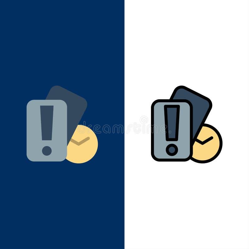 Kort hand, innehav, domare Icons Lägenheten och linjen fylld symbol ställde in blå bakgrund för vektorn royaltyfri illustrationer
