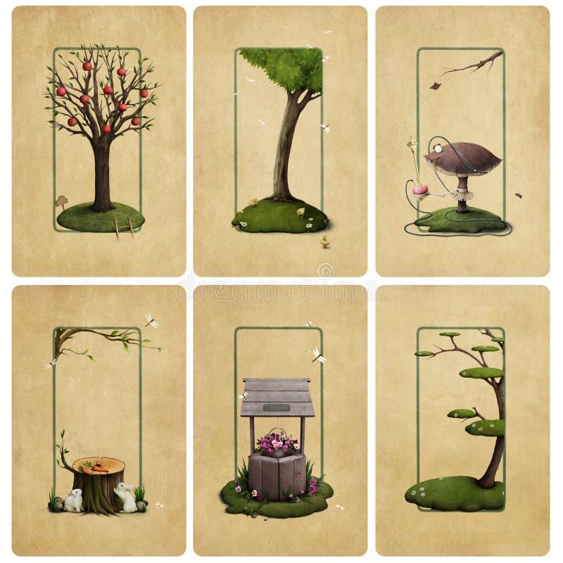 kort illustrerat leka stock illustrationer