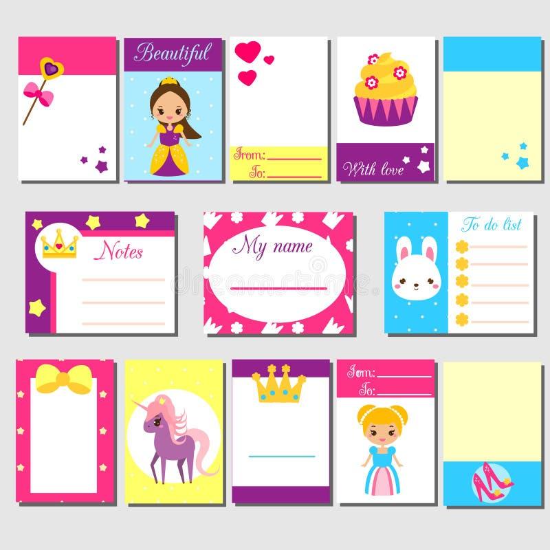 Kort klibbiga anmärkningar, klistermärkear, etiketter, etiketter, med gulliga prinsessatecken Mall för ungar urklippsbok, inbjudn vektor illustrationer