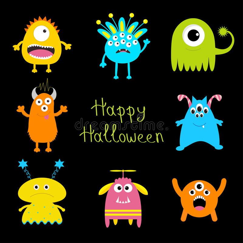 kort lyckliga halloween Färgrik gigantisk stor uppsättning Läskigt tecken för gullig tecknad film Behandla som ett barn samlingen royaltyfri illustrationer