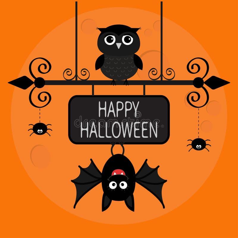 kort lyckliga halloween Slagträ som hänger på smidesjärnteckenbräde Ugglafågel, spindelstrecklinje rengöringsduk stock illustrationer