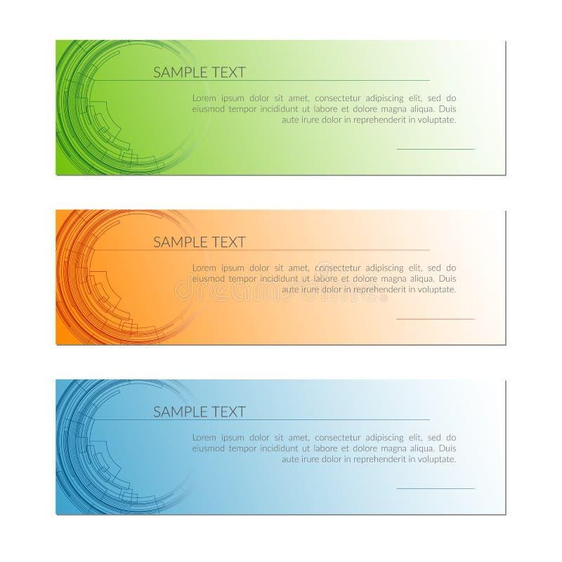 Kort med abstrakta radiella cirkellinjer Techlinjer på en orange blå grön för teknologikort för bakgrund idérik design för mall royaltyfri illustrationer
