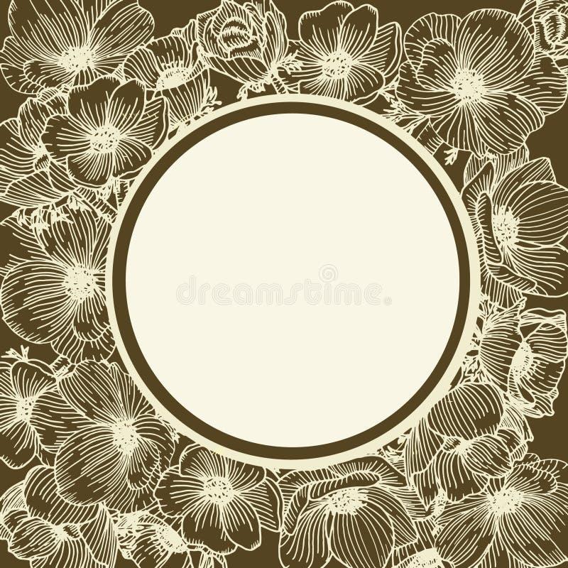 Kort med anemona Botanisk blomma på den bruna bakgrunden stock illustrationer