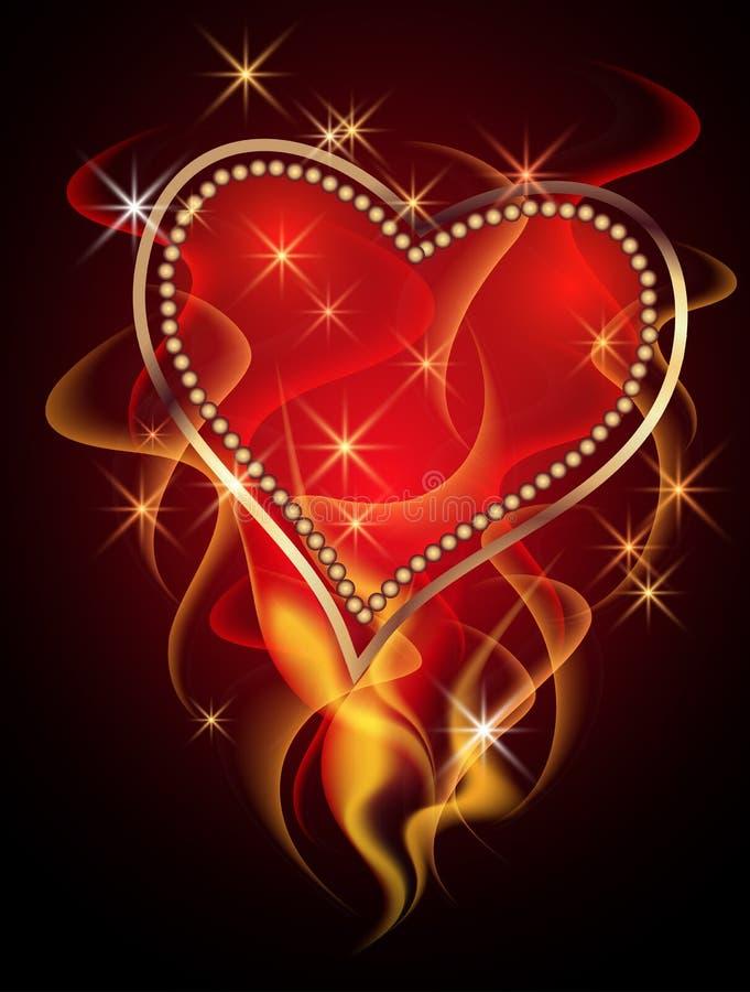 Kort med burning hjärta stock illustrationer