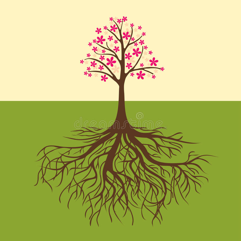 Kort med den blom- treen stock illustrationer