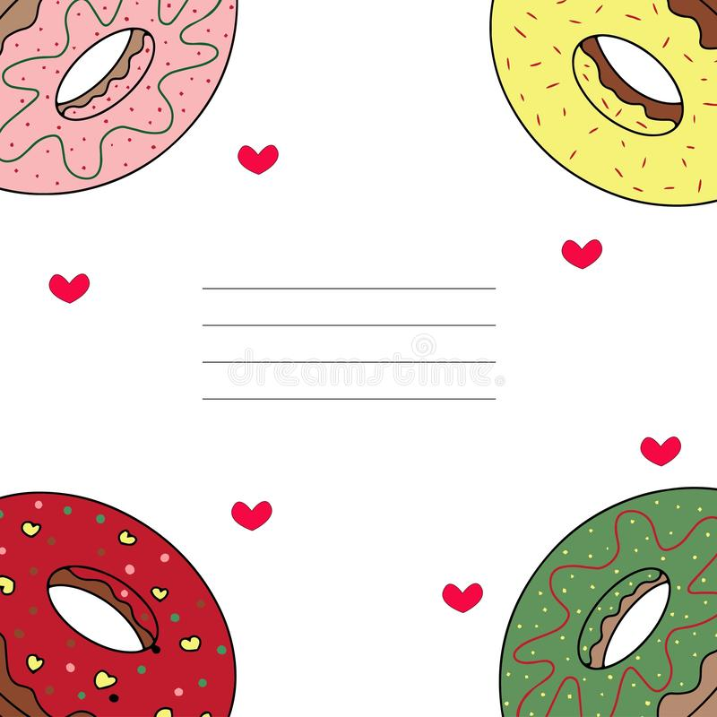 Kort med donuts royaltyfri illustrationer