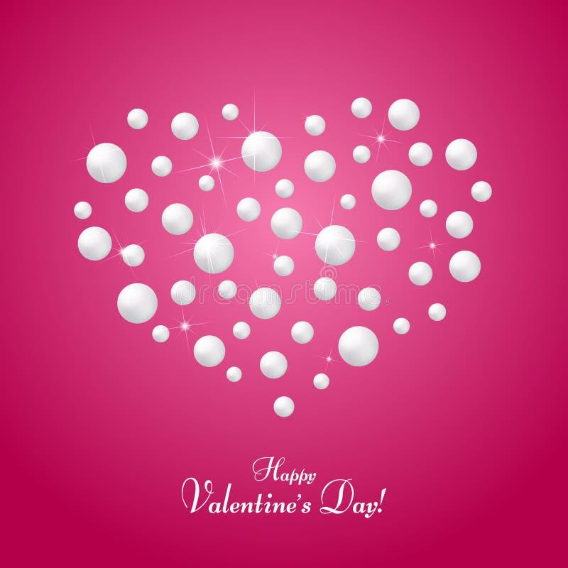 Kort med en hjärta av pärlor på ett rosa bakgrundssymbol av förälskelse och förbindelsetext av den lyckliga valentin dagmallen fö stock illustrationer