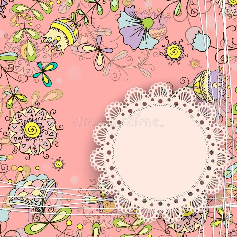 Kort med en klotterstil för blom- design stock illustrationer