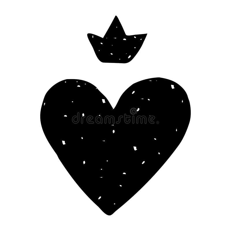 Kort med en tappninghjärta och en krona överst Göra perfekt för klistermärkear, kort, tryck på en T-tröja, råna, etc. stock illustrationer