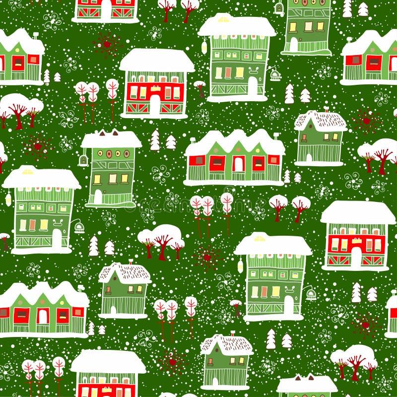 Kort med etiketten Vinterbakgrund med hus royaltyfri illustrationer