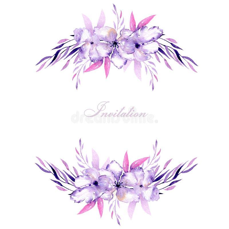 Kort med för för rhododendronblommor och örter för vattenfärg purpurfärgade buketter, hand som dras på en vit bakgrund vektor illustrationer