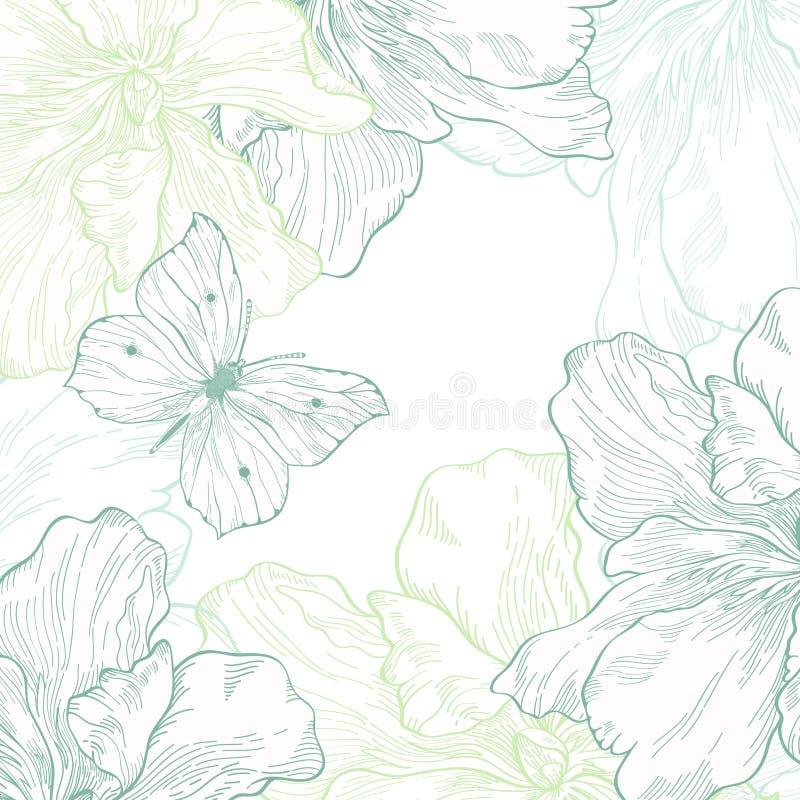 Kort med fjärilen och blommor stock illustrationer