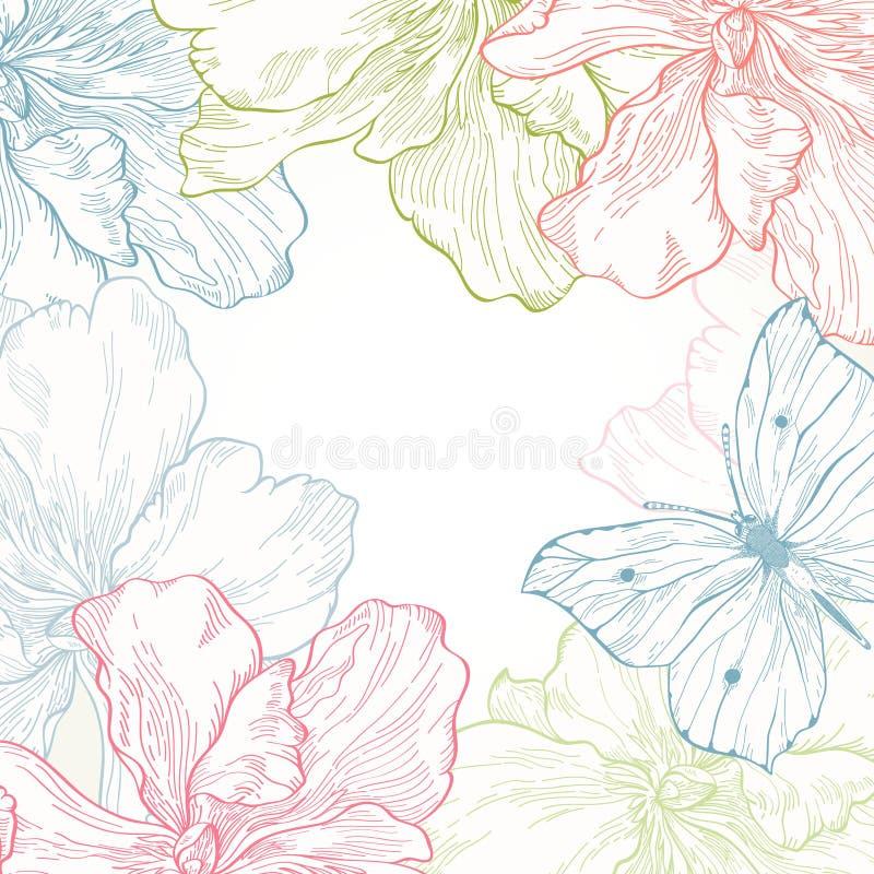 Kort med fjärilsblommor stock illustrationer