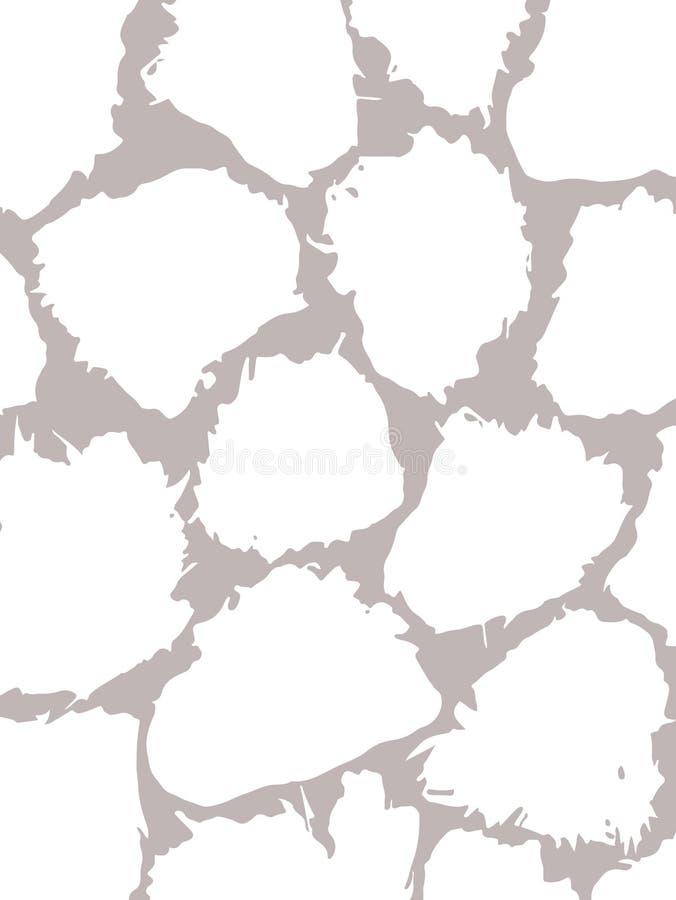 Kort med fläckar som göras av borsten och färgpulver Textur för bakgrunden Vita slumpmässiga fläckar på en grå bakgrund tecknad h royaltyfri illustrationer