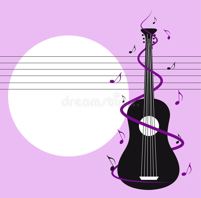 Kort med gitarren stock illustrationer