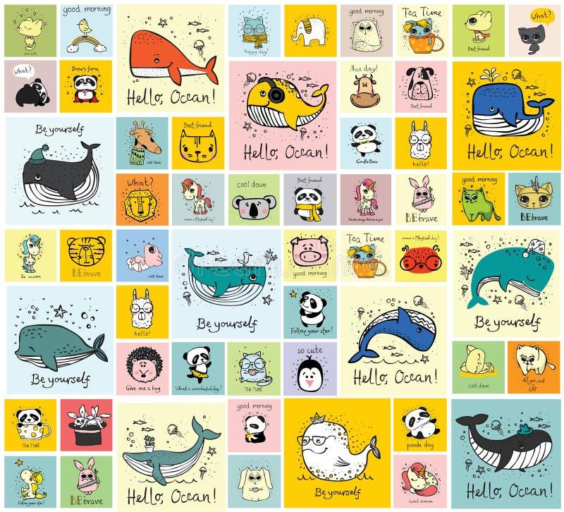 Kort med gulliga lyckliga djur vektor illustrationer