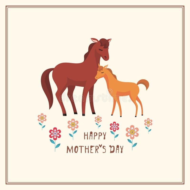 Kort med hästar vektor illustrationer