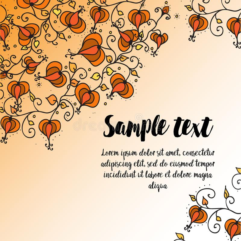 Kort med hösten som klottrar den blom- modellen royaltyfri illustrationer