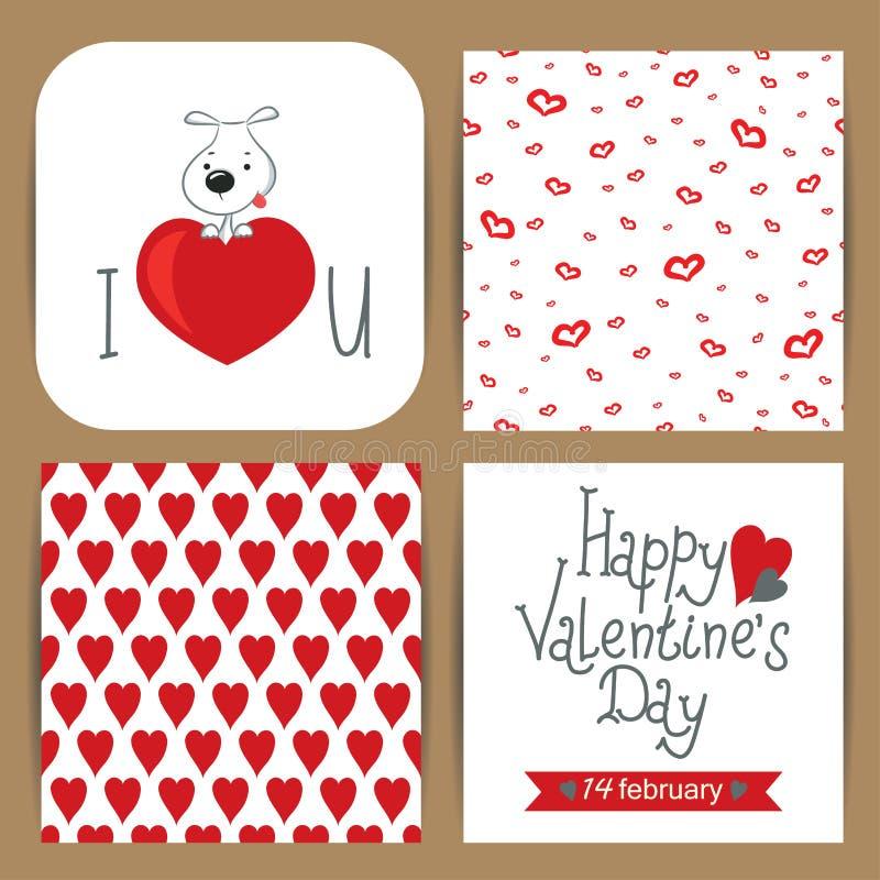 Kort med hunden för valentin dag stock illustrationer