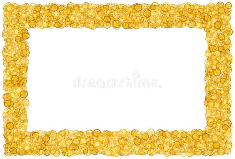 Kort med många kugghjul Guld- gräns shimmer Guld- ram av kugghjul arkivfoto