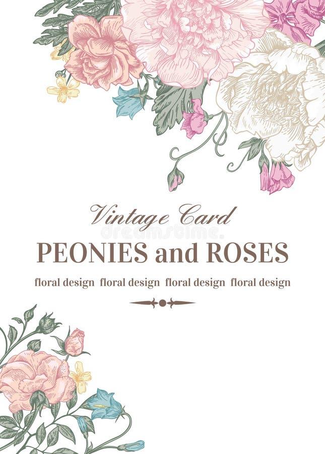Kort med rosor och pioner vektor illustrationer