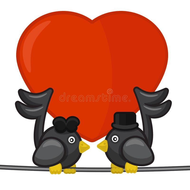Kort med två anmärkningsfåglar som sjunger förälskelsesång stock illustrationer